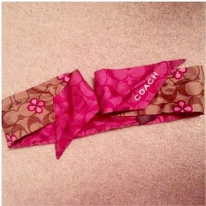 Coach signature silk poppy brown & pink scarf
